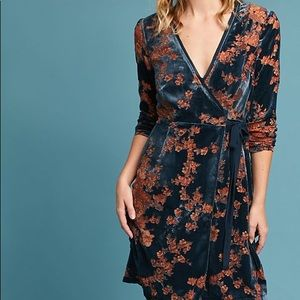Anthro Eri + Ali Velvet Burnout Wrap Dress